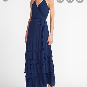 NWT tiered wrap front maxi dress